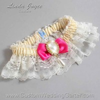"Fuchsia and Ivory Lace Wedding Garter ""Victoria 10"" Gold"