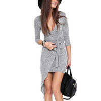 Sheinside Grey Long Sleeve V Neck Asymmetric Dress = 1956600196