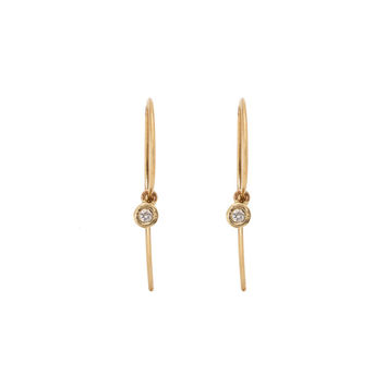 Tiny Bezel Diamond Hook Earrings