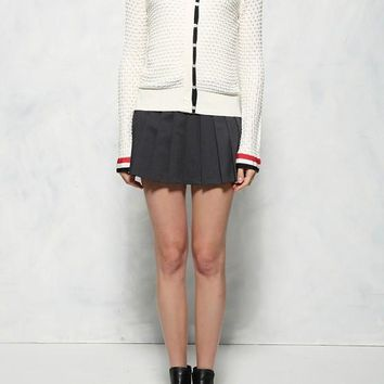 White Patchwork Single Breasted Round Neck Cardigan Sweater
