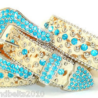 B&B CoWgiRl WeStErN BriNdLe 5 RoW TuRqUoiSe RhiNeStOnE LeAtHeR BeLt S-M-L-XL