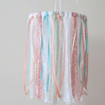 Coral/Mint Baby Mobile, Nursery Mobile, Dreamcatcher Mobile, Boho Mobile, Baby Shower Gift, Baby Photo Prop