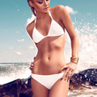 Push Up Halter White Bikini with Gold Plated Detail