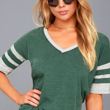 Outfielder Grey and Washed Green Tee