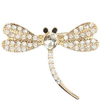Clear Pave Crystal Stone Metal Dragonfly Pin And Brooch