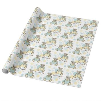 Original Cute Teddy Bear Baby Shower Personalized Wrapping Paper