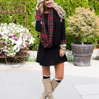 Memories of You Dress Black/Red Plaid