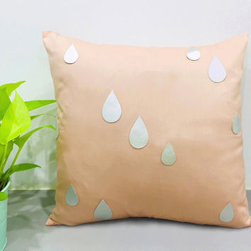 Custom Your Color. Silver Raindrops Peach Decorative Pillow Cover. 16inch Metallic Rain Accents Pillow Cushion Cover. Peach And Silver Decor