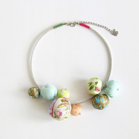 Fabric bead statement necklace bib fabric necklace pastel tones, one of kind