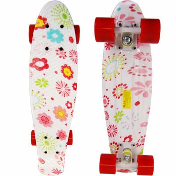 Girls Penny Style Cruiser Board 22 inch Retro Plastic Skateboard Complete Flowers