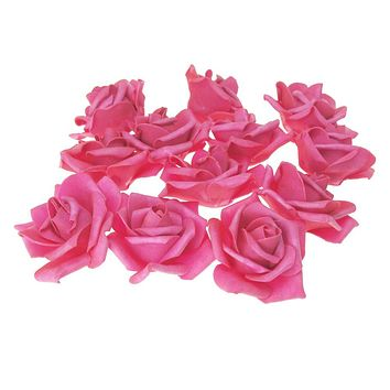 Foam Roses Flower Head Embellishment, 3-Inch, 12-Count, Fuchsia