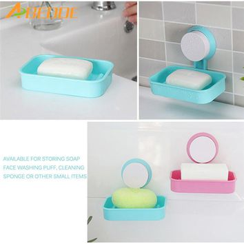 ABEDOE New Soap Dish Strong Suction Cup Wall Tray Holder Soap Storage Box For Bathroom Shower Tool for Bathroom Kitchen Sponge