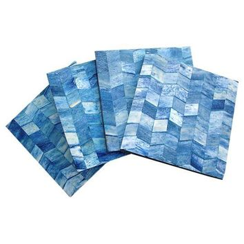 Pre-owned Blue Chevron Bone Veneer Coasters - Set of 4