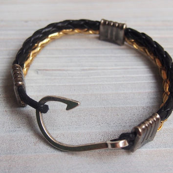 Mens Gold Black leather bracelet, Braided leather Bracelet, Nautical Jewelry, mens bracelet, Mens hook bracelet, silver hook bracelet men