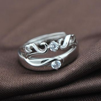 s925 sterling silver inlaid open couple ring Valentine's Day gift angel ring