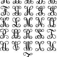 Metal Vine Monogram Initial With Detailed Rope Border