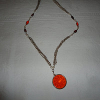Carnelian Orange Faceted Pearl Red Ruby Gold Filled Four Strand Chain Necklace