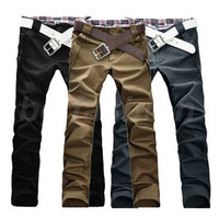 Fashion Men Stylish Designed Straight Slim Fit Trousers Casual Long Pants Jeans