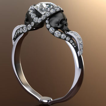 Diamond Vapor Skull Ring with Half Carat Center 14K Gold