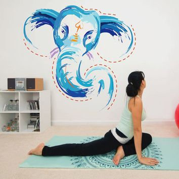 cik783 Full Color Wall decal elephant god Ganesh Hindu meditation hall bedroom hall