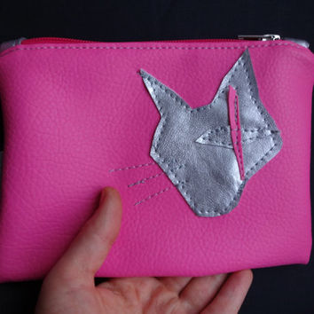 Cat Clutch Bag, Cat Purse Handmade Pouch Bag, Pink Purse, Vegan leather Clutch , Artificial leather Purse, Faux Leather Small Clutch