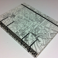 Handmade Coptic Stitched Fabric Journal Notebook - Paris Map - Travel Holiday Vacation Journey