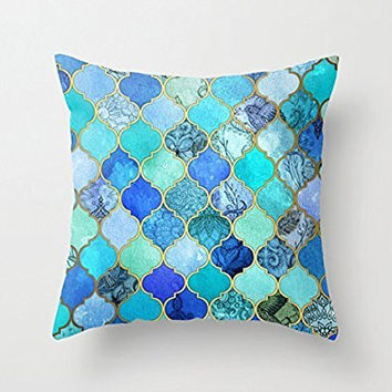 B Lyster shop G025J Cobalt Blue, Aqua,  Home Decoration pillow covers 18 X 18