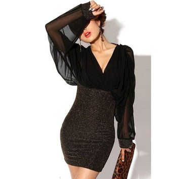 Black Retro Style V-Neck Chiffon Long Sleeve Dress