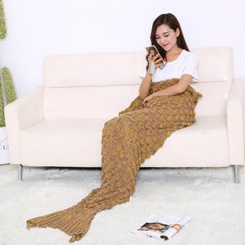 2016 Comfortable Nap quilt 195x90CM Knitted Mermaid Tail Blanket Adult Crochet Mermaid Blanket 14 Colors Super Soft Sofa Blanket
