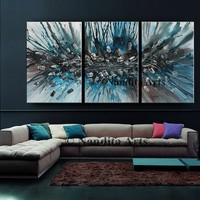 """Turquoise Blue Modern Art 72"""" Abstract Painting on Canvas by Nandita Albright, Contemporary Art, Fine Art, Home Decor, Artwork (182.88x36cm)"""