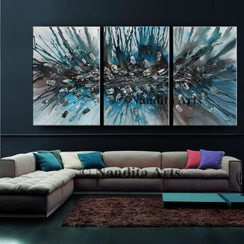 "Turquoise Blue Modern Art 72"" Abstract Painting on Canvas by Nandita Albright, Contemporary Art, Fine Art, Home Decor, Artwork (182.88x36cm)"
