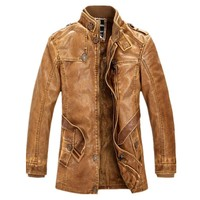 BOLUBAO New Men Leather Suede Jacket Fashion Motorcycle Faux PU Leather Jacket Male Thick Winter Jackets Coat