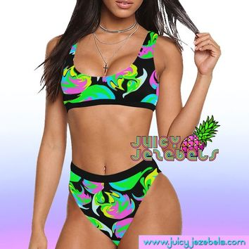 SWIRLS AND TWIRLS High Waisted Bikini Ibiza Style Rave Outfit Rave Bra Bikini Top Hippie Clothes Sexy Bikini Rave Wear Two Piece Swimsuit