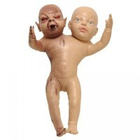 Twin Demon Baby Two Headed Babies 2 Heads One Body Scary Doll Prop Evil Child