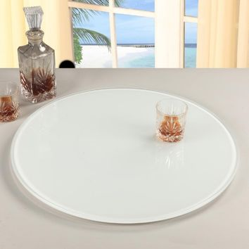 Chintaly 24 in. Glass Lazy Susan - White | www.hayneedle.com