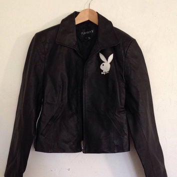 vintage playboy jacket / black leather jacket / crop / moto / biker / bunny / classic / embroidered / l / large