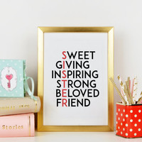 SISTER PRINT,Gift For Sister,Best Sister,BFF,Best Friend Forever,Best Of Friend Family,Sister Quote,Nursery Print,Girl Room Decor,Wall Art