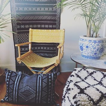 Mustard Yellow & White Tribal Stripe African Mudcloth Vintage Directors Chair