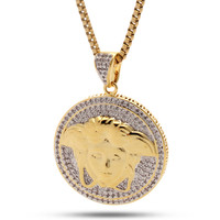 14K Gold CZ Medusa Shield Necklace