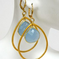 Blue Chalcedony Gemstone Earrings Gold Dangle Short Handmade