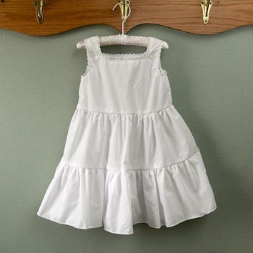 Girls white full slip, toddler slip, vintage-style child's slip, slip size 2T 3T 4T 5T 6X