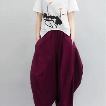 ICIKON3 Womenbreathness trousers linen casual plus size loose female ankle length pants tide harem pants mk0012