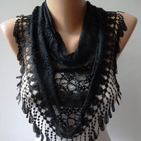 Black Scarf with Special Black Trim Edge by SwedishShop on Etsy