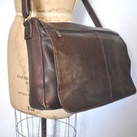 Brown Leather Briefcase / Distressed laptop bag / UNISEX