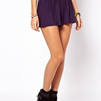 ASOS PETITE Exclusive Culotte Shorts In Spot at asos.com