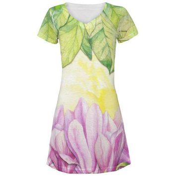 CREYON Mardi Gras French Quarter Magnolias at Sunrise All Over Juniors Beach Cover-Up Dress