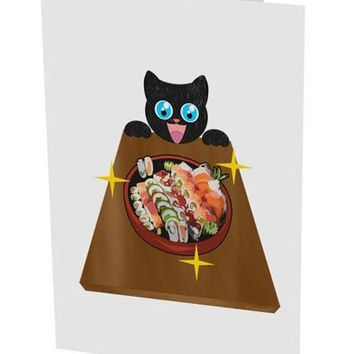 "Anime Cat Loves Sushi 10 Pack of 5x7"" Side Fold Blank Greeting Cards by TooLoud"