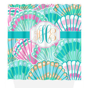 Seashell SHOWER CURTAIN, Lily Flower, Turquoise Pink, Custom MONOGRAM Personalized, Girl Sister Bathroom Decor, Beach Towel, Plush Bath Mat