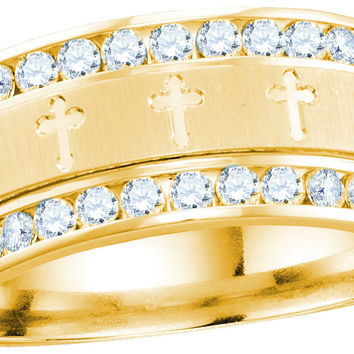 14k Yellow Gold Mens Round Diamond Grecco Christian Cross Wedding Anniversary Band Ring 1.00 Ctw 114560