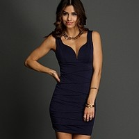 Royal Sleeveless Plunging Dress